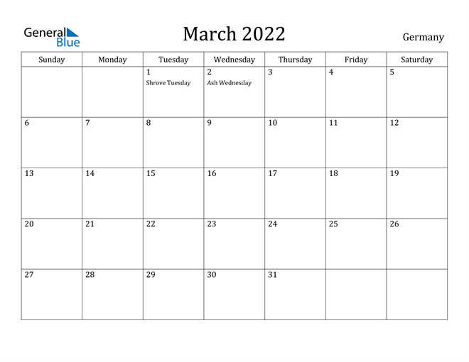 Image of March 2022 Germany Calendar with Holidays Calendar