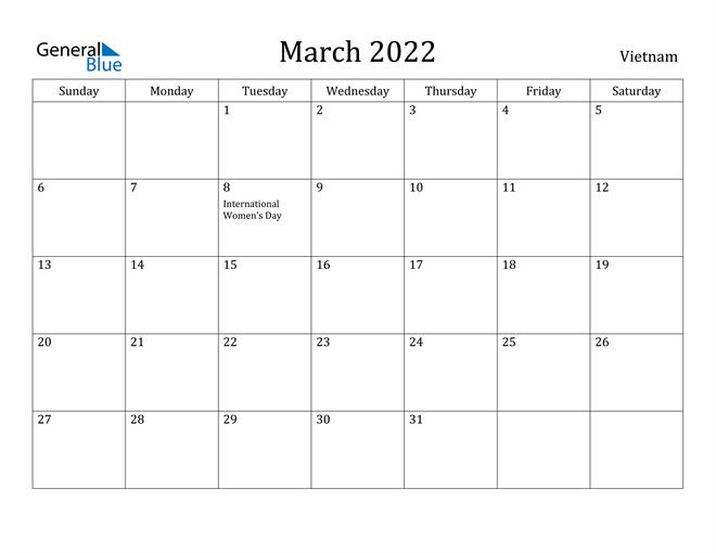 Image of March 2022 Vietnam Calendar with Holidays Calendar