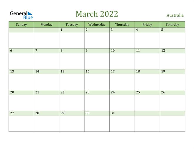 March 2022 Calendar with Australia Holidays