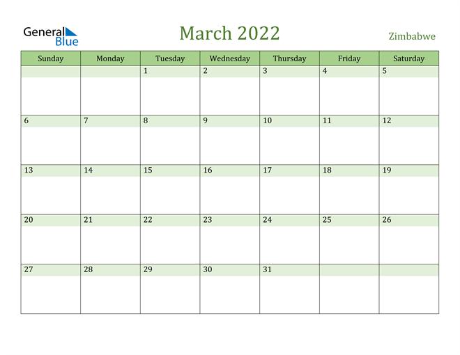 March 2022 Calendar with Zimbabwe Holidays
