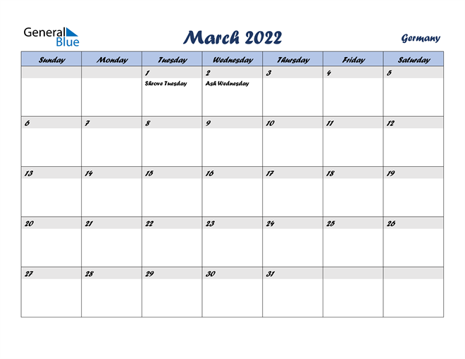 Image of March 2022 Italicized and Cool Blue, A Fun Calendar in PDF, Word and Excel Calendar