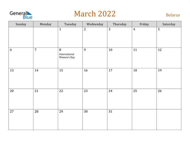 March 2022 Holiday Calendar.Belarus March 2022 Calendar With Holidays