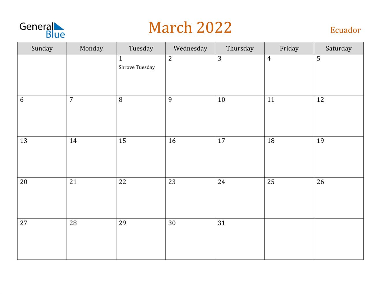 March 2022 Calendar - Ecuador