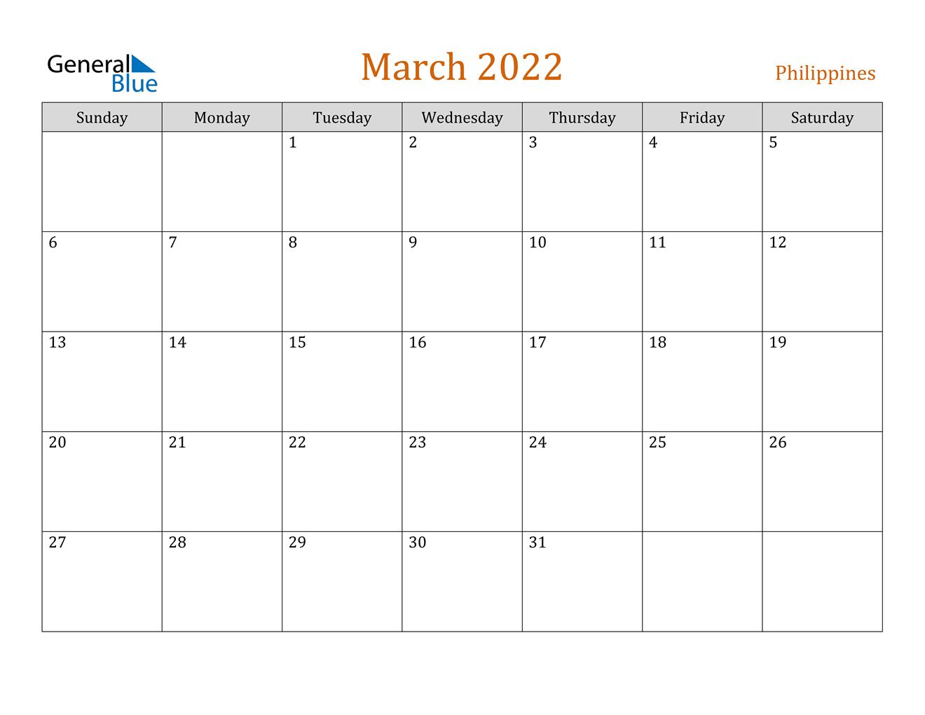 March 2022 Calendar - Philippines