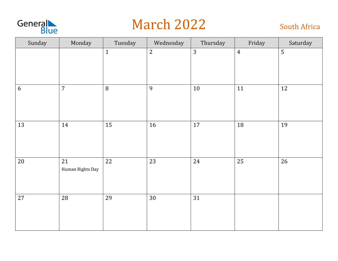 March 2022 Calendar - South Africa