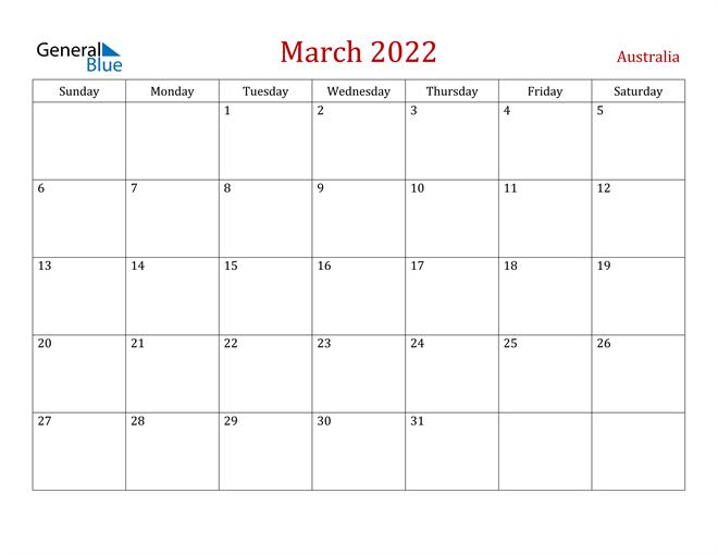 Australia March 2022 Calendar