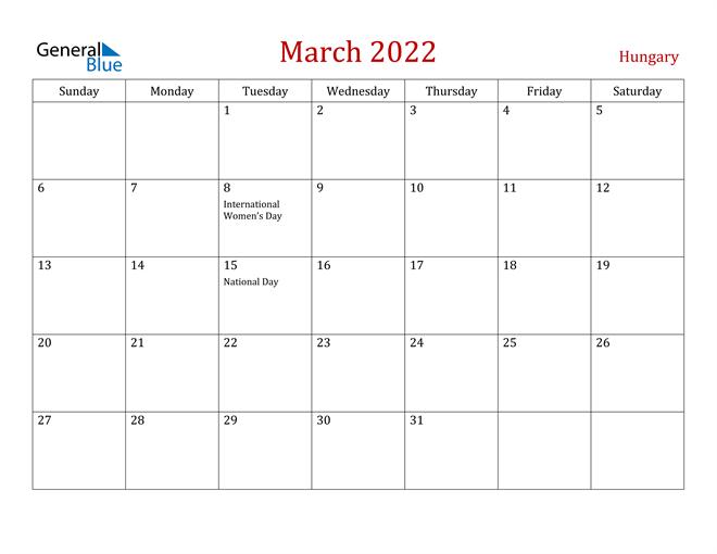 Womens March 2022 Calendar.Hungary March 2022 Calendar With Holidays