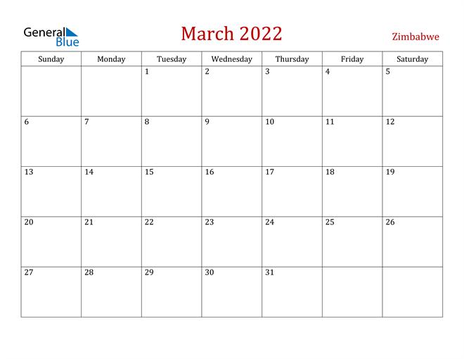 Zimbabwe March 2022 Calendar