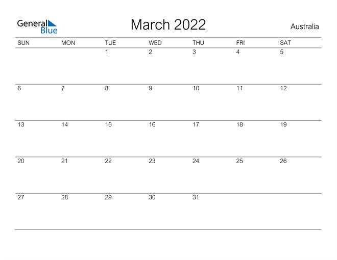 Printable March 2022 Calendar for Australia