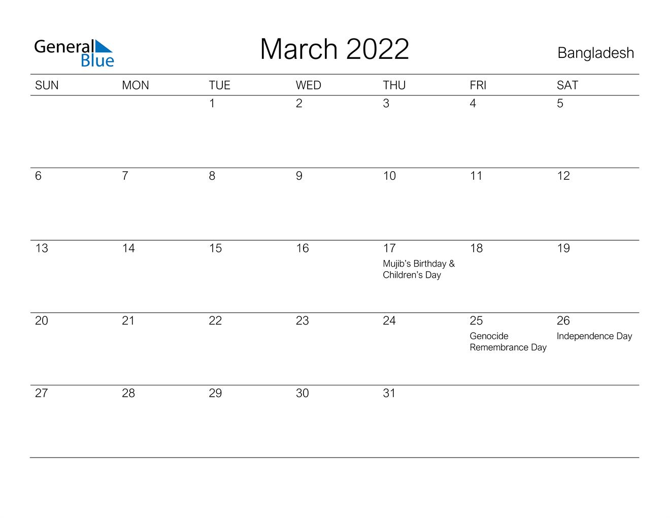 March 2022 Calendar - Bangladesh