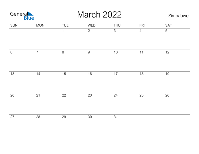 Printable March 2022 Calendar for Zimbabwe