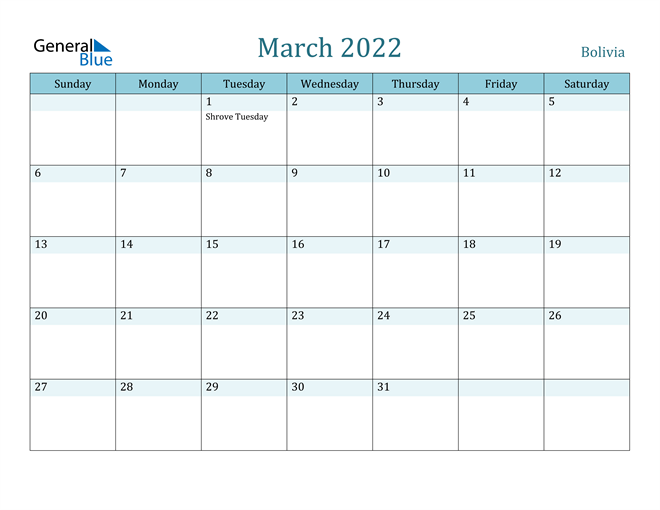 Image of March 2022 Colorful Turquoise Calendar in PDF, Word and Excel Calendar