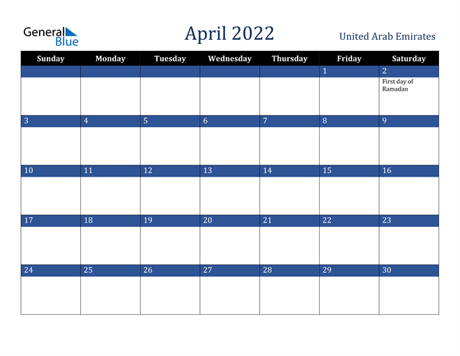 Image of April 2022 Stylish Dark Blue Calendar in PDF, Word and Excel Calendar
