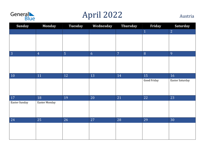 April 2022 Austria Calendar