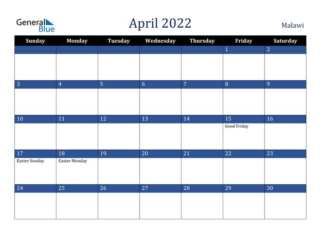 April 2022 Malawi Calendar