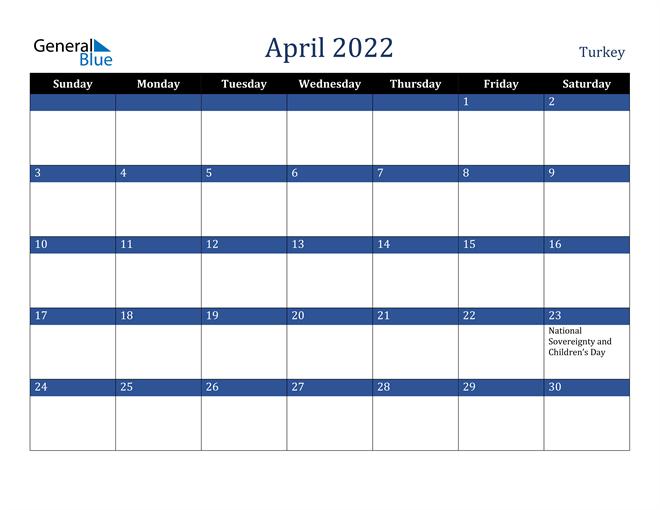 Image of April 2022 Stylish Dark Blue Calendar in PDF, Word and Excel Calendar