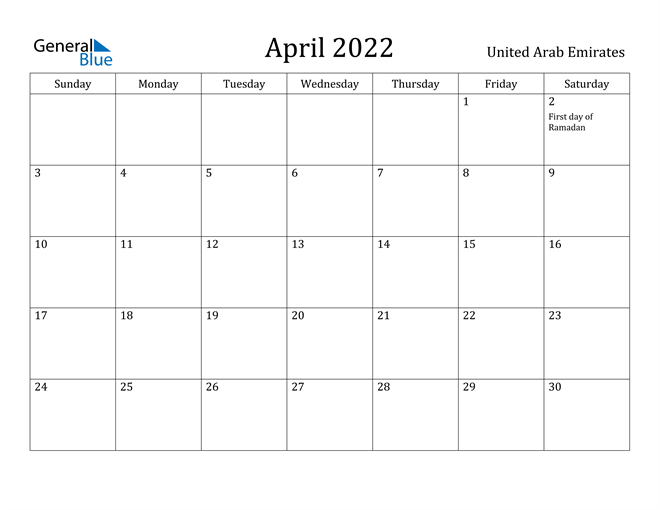 Image of April 2022 United Arab Emirates Calendar with Holidays Calendar