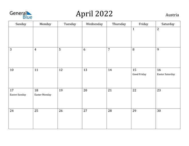April 2022 Calendar Austria
