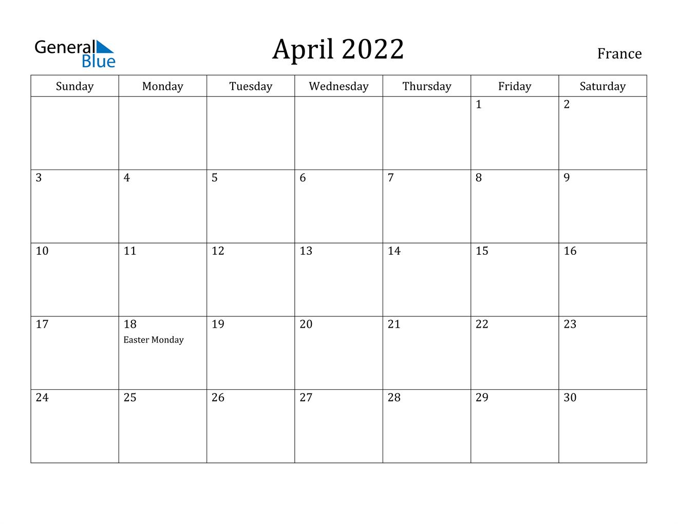 Calendar 2022 April.France April 2022 Calendar With Holidays