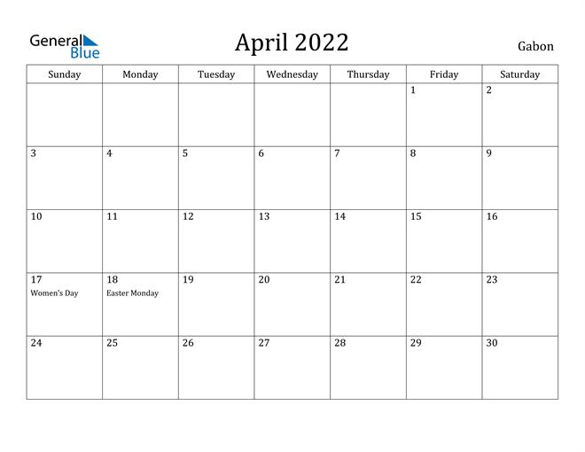 Image of April 2022 Gabon Calendar with Holidays Calendar