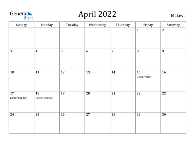 April 2022 Calendar Malawi