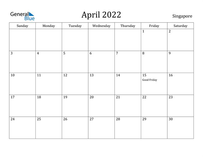 April 2022 Calendar Singapore