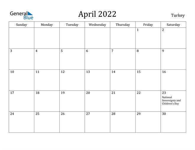 Image of April 2022 Turkey Calendar with Holidays Calendar