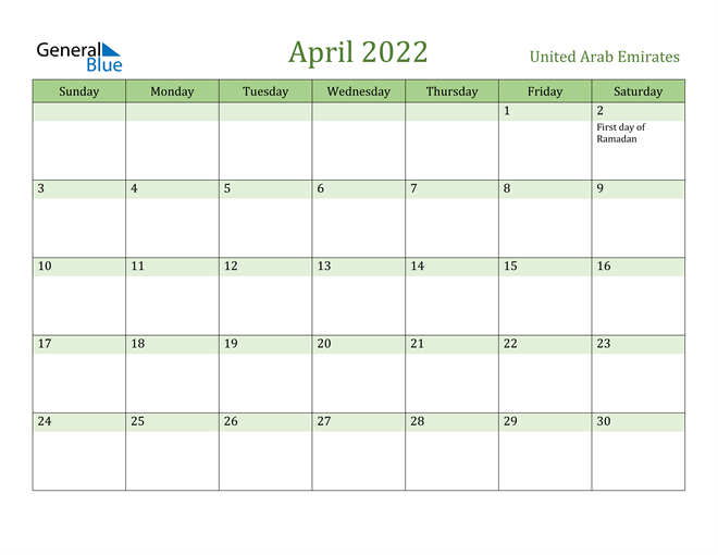 Image of April 2022 Cool and Relaxing Green Calendar Calendar