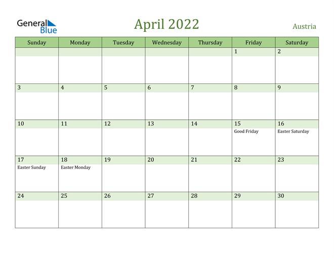 April 2022 Calendar with Austria Holidays