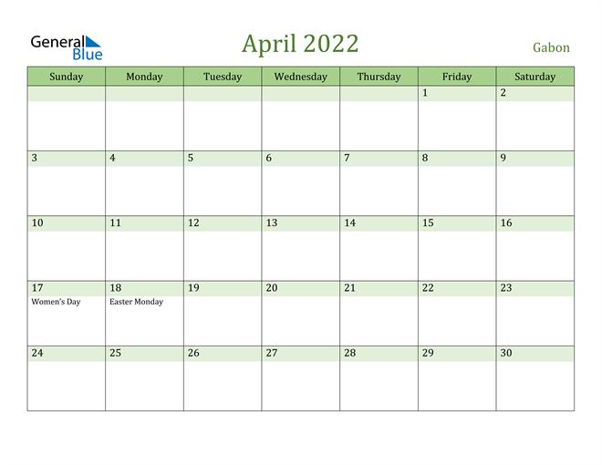 Image of April 2022 Cool and Relaxing Green Calendar Calendar