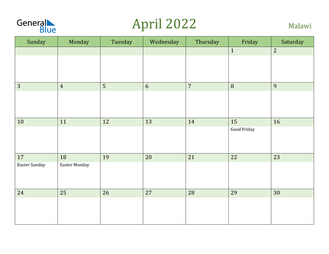 April 2022 Calendar with Malawi Holidays