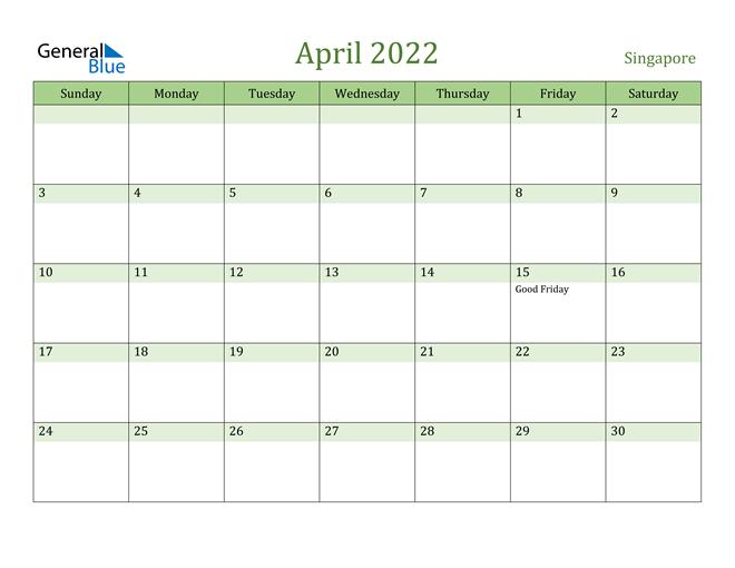 April 2022 Calendar with Singapore Holidays