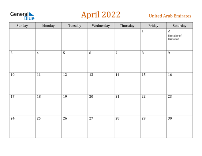 Image of April 2022 Contemporary Orange PDF, Word and Excel Calendar Calendar