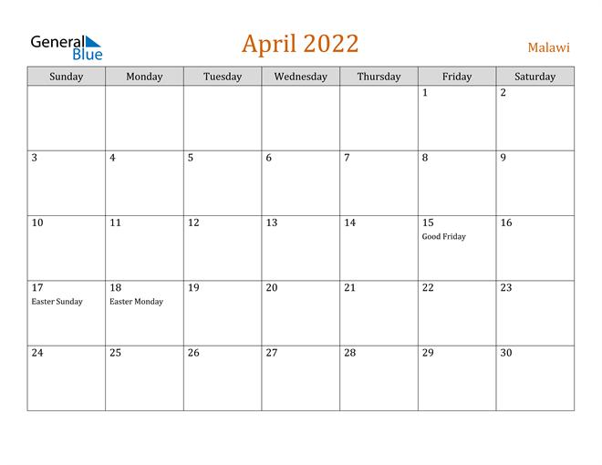 April 2022 Holiday Calendar
