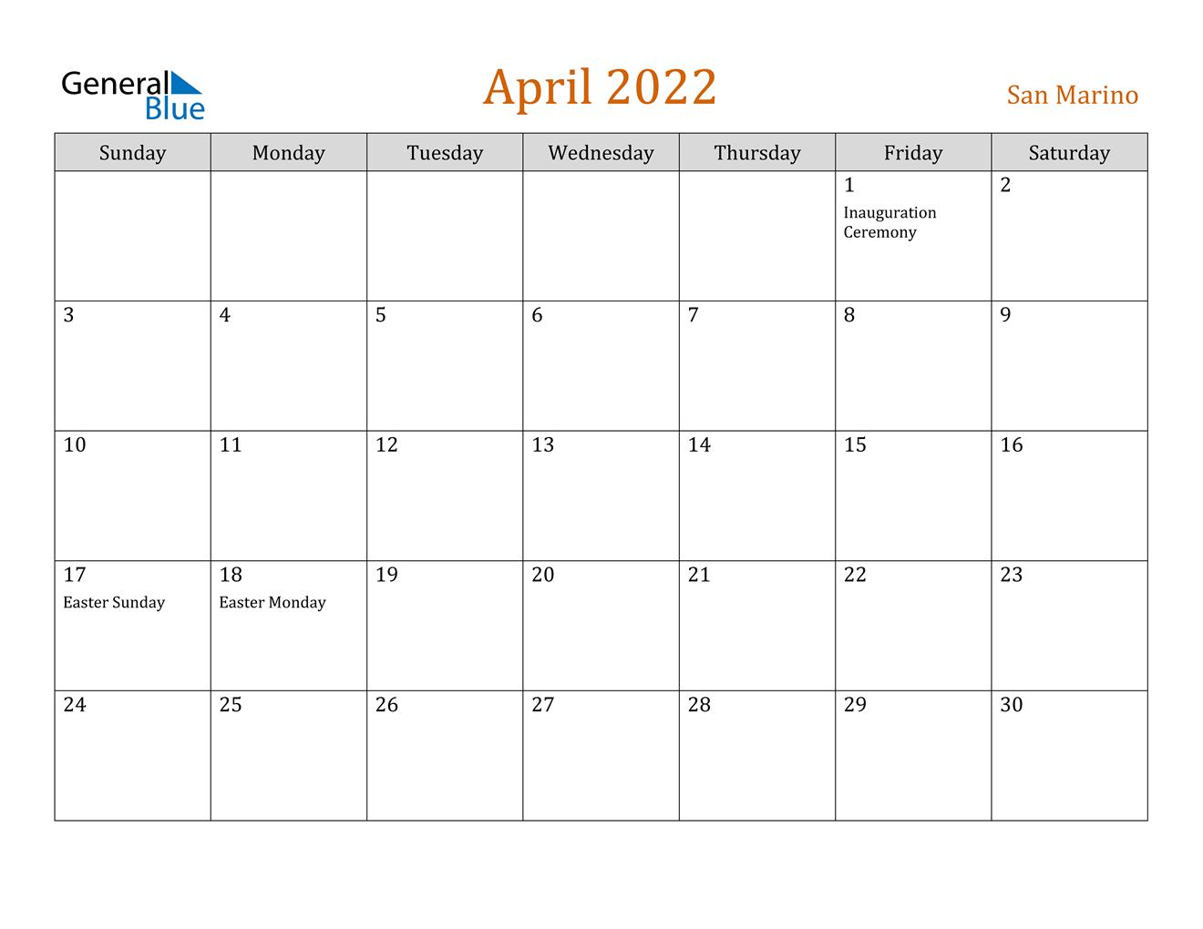 April 2022 Calendar - San Marino