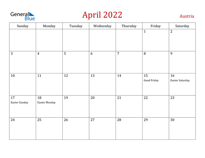 Austria April 2022 Calendar