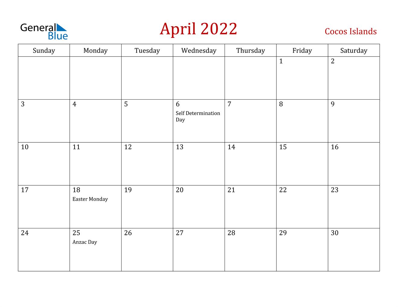 April 2022 Calendar - Cocos Islands