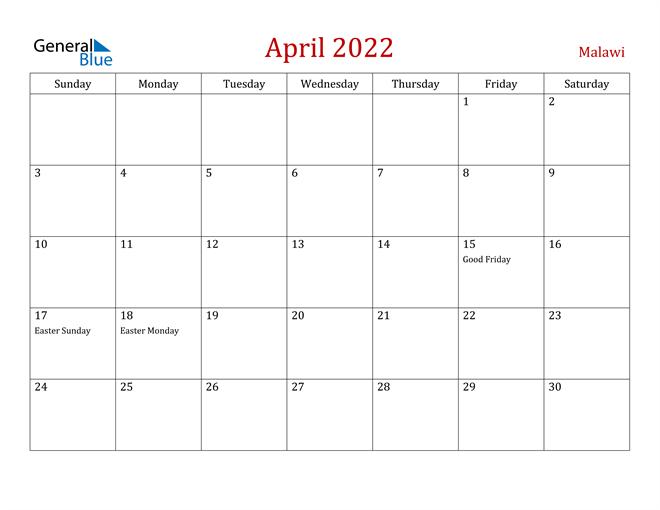 Malawi April 2022 Calendar