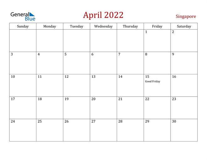 Singapore April 2022 Calendar
