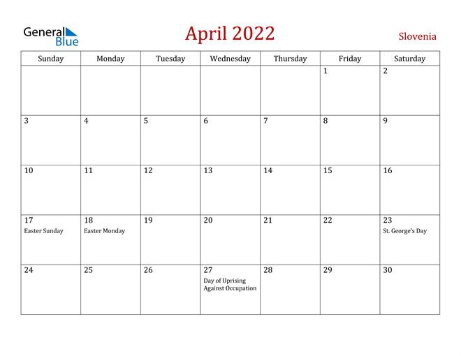 Image of April 2022 Dark and Red Professional Office Calendar Calendar