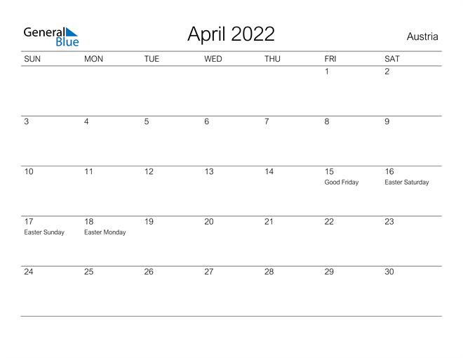 Printable April 2022 Calendar for Austria