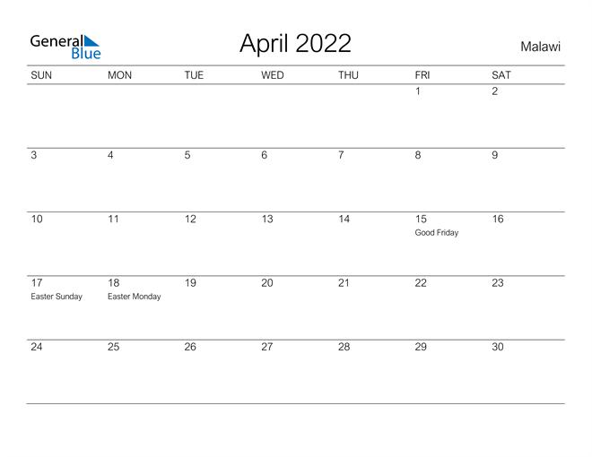 Printable April 2022 Calendar for Malawi