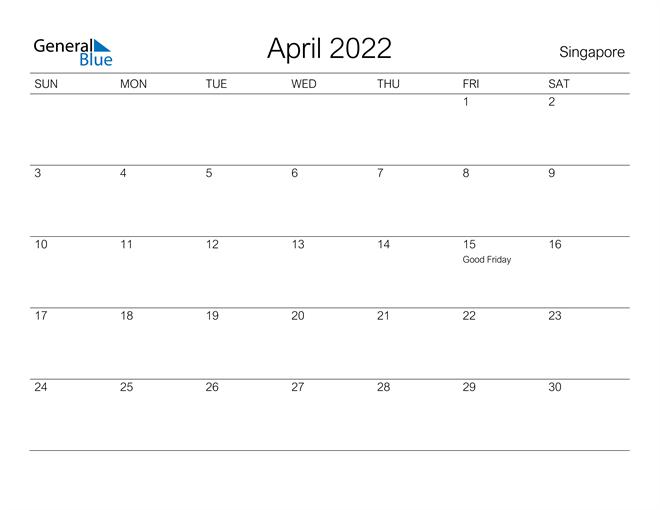 Printable April 2022 Calendar for Singapore