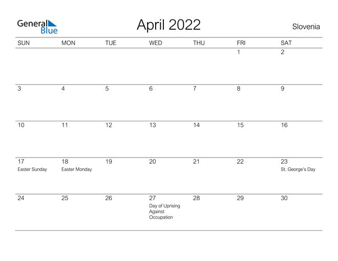 Image of April 2022 A Streamlined Design, The Perfect Printable Calendar. Calendar