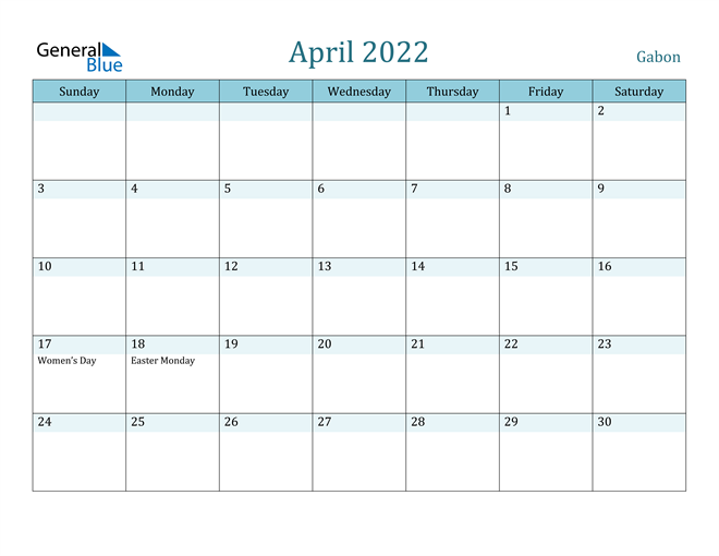 Image of April 2022 Colorful Turquoise Calendar in PDF, Word and Excel Calendar