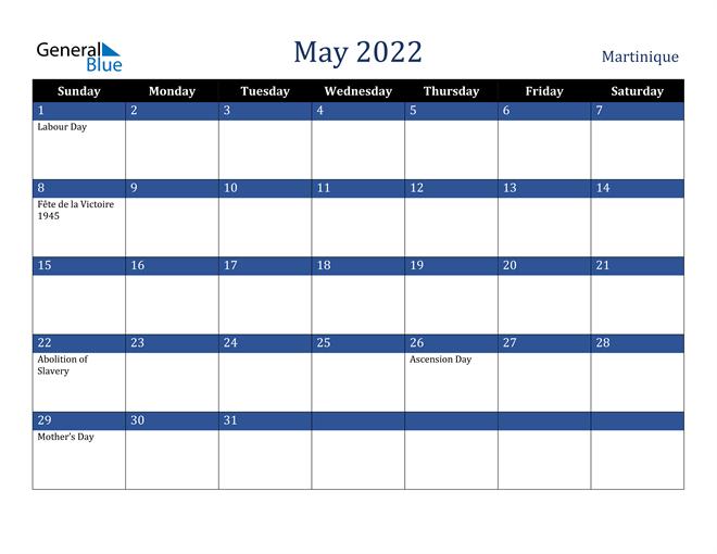 May 2022 Martinique Calendar