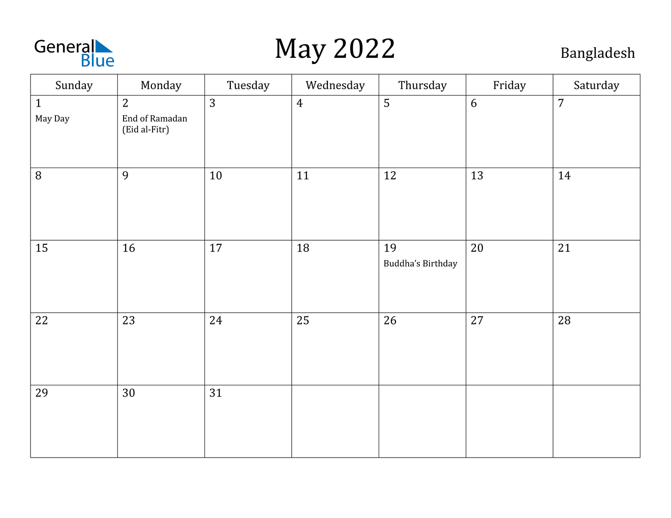 May 2022 Calendar - Bangladesh