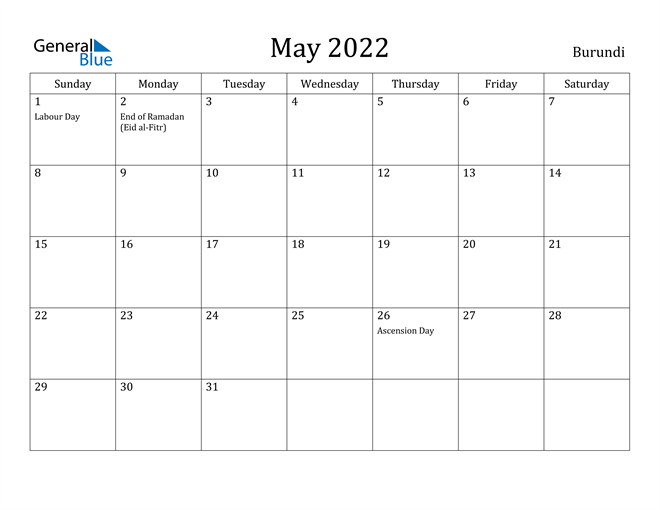 Image of May 2022 Burundi Calendar with Holidays Calendar