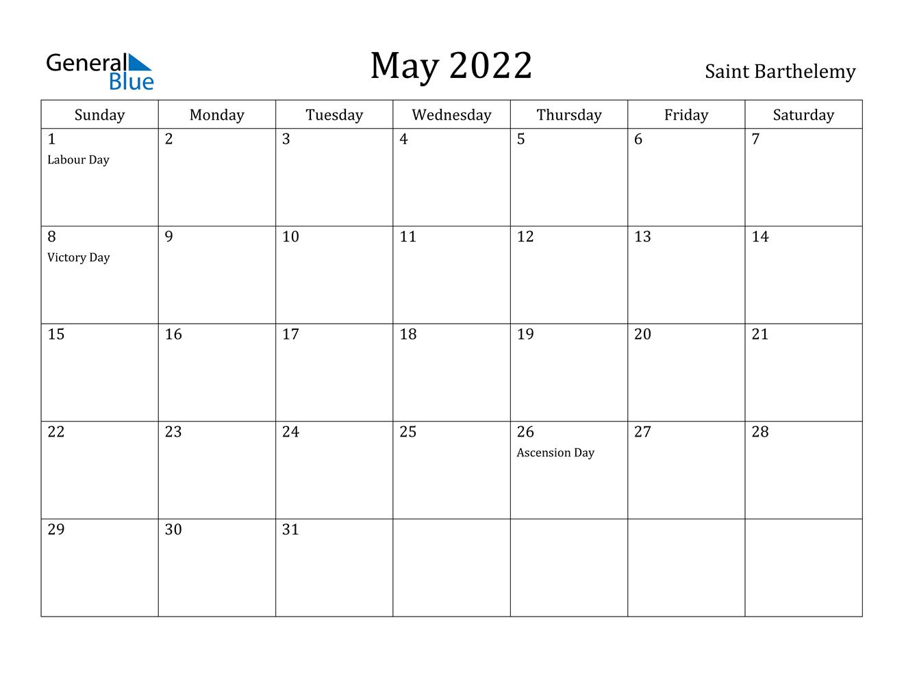 May 2022 Calendar - Saint Barthelemy
