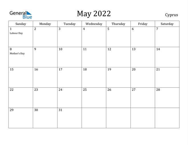 Image of May 2022 Cyprus Calendar with Holidays Calendar